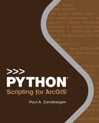 Python Scripting for ArcGIS is a guide for experienced users of ArcGIS Desktop to get started with Python scripting without needing previous programming experience.