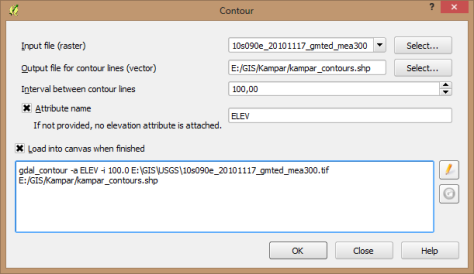 raster extract contour setting