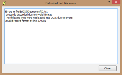 Create a Layer from Delimited Text File 02 Ada error karena karakter aneh